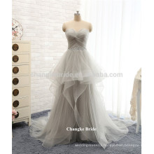 Hot sale grey plus dress fashionable floor length tulle prom dresses