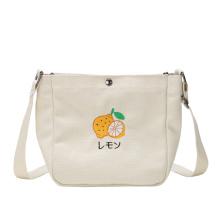 Wholesale new arrival cartoon print girl cotton canvas mini cross body messenger bag