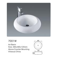 7001W Ceramic Bathroom Round Art Basin