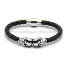 Style punk véritable cuir crâne lion lion fermoir bracelet magnétique