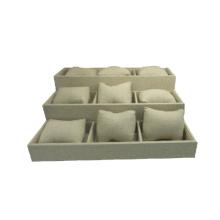 Almohadillas de lino beige flexible Ver la bandeja de exhibición de la caja de presentación (TY-12W-BLN1)