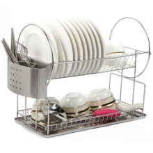 Volles Edelstahl-2-Tier-Küche-Geschirr-Teller-Teller-Zahnstange