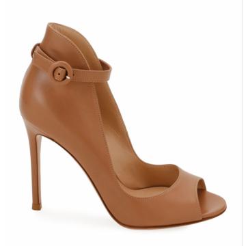 Stiletto Heels Shoes Brown Open Toe Rope Genuine Leather Women High Heels Pumps High Heels Stiletto Pumps For Women