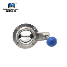 Triclamp de fournisseur de la Chine / vanne papillon inox 304 / 316L d'acier inoxydable sanitaire soudée / filetée