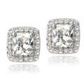 925 Silver White Topaz Cushion Stud Earrings Wedding Jewelry