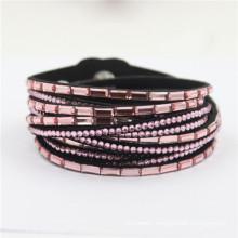 Hot Selling Rhinestone Velvet Leather Crystal Wrap Deluxe Bracelets