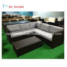 Задняя часть сада ротанга угловой диван с журнальным столиком (CF1379-Л)