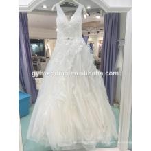 Wedding dress 2017 spring new V-neck shoulders Qi level irregularity Korean version of the princess wedding dress LJ-10039