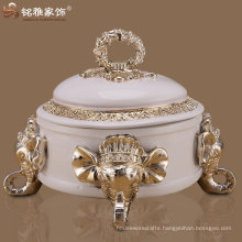 Wedding decoration gifts four elephant heads round resin jewelry box