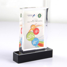 Sport High Quality Clear Acrylic Trophy Plaques With Embedded Printed Paper Sheet