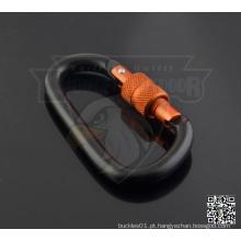 Parafuso de bloqueio de alumínio em forma de D Carabiner Keychain 6 cm preto