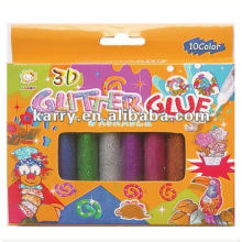 3D WASHABLE GLITTER GLUE 10 COLORS 10ML PER TUBE DIY NON-TOXIC FOR DECORATION AND HANDWORK