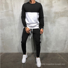 2021 Oversized Autumn New Large Size Stitching Crew Neck Long Sleeve Jacket Tooling Pocket Pants Set