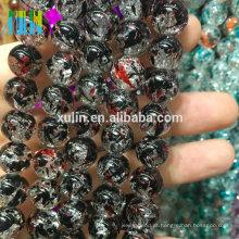 Atacado 8mm jet glass crackle floral contas de jóias que faz a máquina