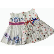 Vestido de moda de niña de verano con estampado en ropa para niños (SQD-133-137)