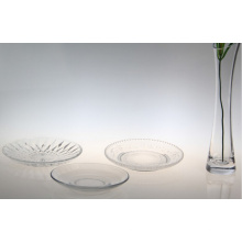 glass round charger plate,embossed round charger plate,dinner glass plate