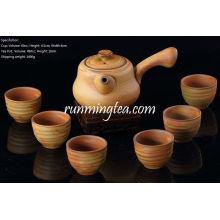 Juego de té de cerámica hecho a mano, una taza larga del té de la manija + 6 tazas de té, color marrón, caja de regalo del paquete