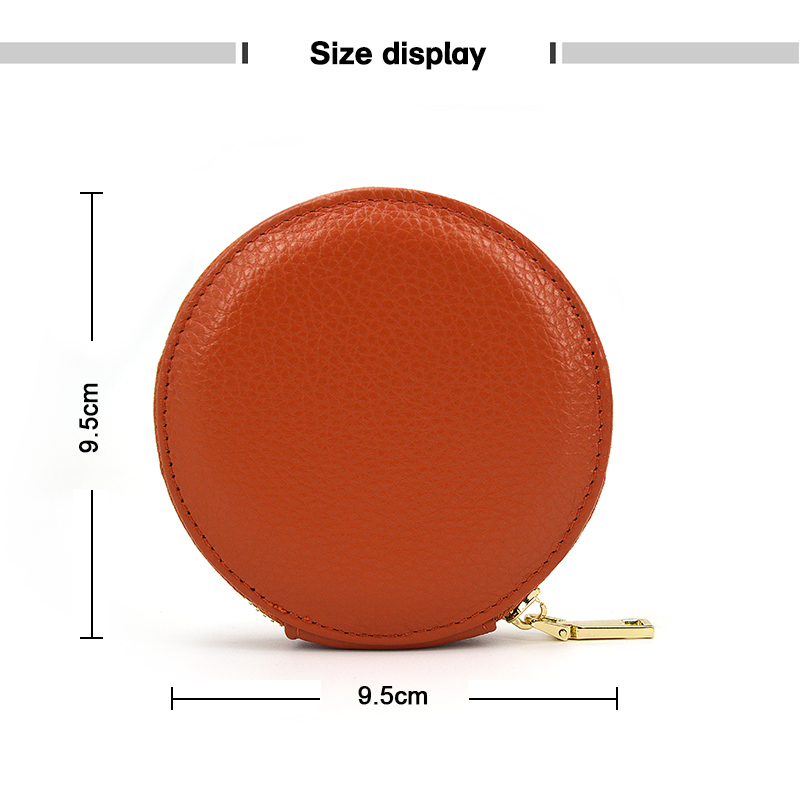 Leather Zipper Coin Pouch Purse for Men Women