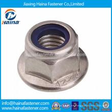 Tuerca de seguridad con inserto de nylon hexagonal DIN6926 en acero inoxidable