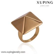 14484 anillo de dedo chapado en oro de la aleación de cobre en forma de cono cuadrado de la joyería al por mayor clásica de las señoras