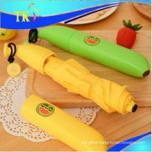 Lovely children umbrella/Pencil 3 folding umbrella for sunny and rainy/Banana umbrella portable umbrella