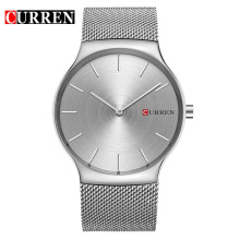 Curren ultra minaliste business watch avec maille en acier inoxydable