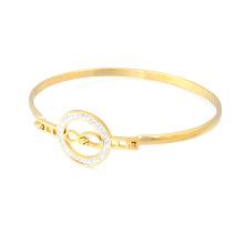Pulsera cristalina fina del encanto del acero inoxidable del brazalete del oro barato al por mayor 18k