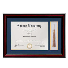 high quality wholesale custom Wooden Golden Rim 11x16 Certificate and Document Diploma Frame with Tassel