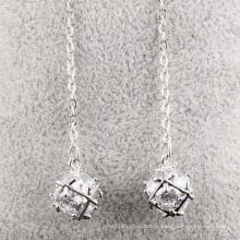 Cubic Zirconia Crystal Diamond Stud Dangle Silver Earrings