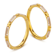 Hinged Segment Ring Clip Gold Titanium Zircon Clicker Piercing Seamless Gift Wedding Trendy WOMEN'S Party Children's Engagement