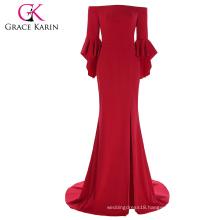 Grace Karin Floor Length Three Quarter Ruffle Sleeve High Split Cheap Red Evening Prom Party Dress 7 Size US 4~16 GK001073-1