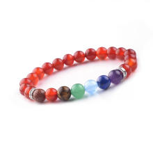 Natural Semi Precious Stone Red Agate Carnelian Bead Colorful 8MM Stones Bracelet