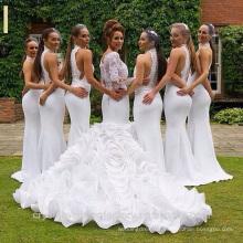 Vintage Alibaba White Lace organza Long Sleeve Mermaid Wedding Dresses 2015 Layers Gowns Vestidos de fiesta LW44
