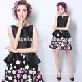 Estilo Curto Printed Flower Black Party Prom Dress Black Cocktail Dress