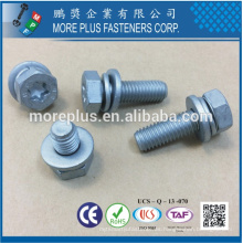Fabricado en Taiwán Clase 8.8 DIN933 TORX de cabeza hexagonal con DIN6902A Arandela plana y DIN6905 Arandela de resorte Sems Tornillos