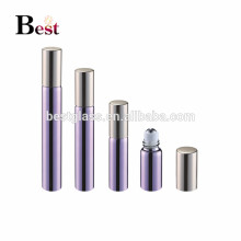hot products 5ml 10ml glass roll on bottle shiny purple perfume roll on bottle with golden aluminum cap and metal ball