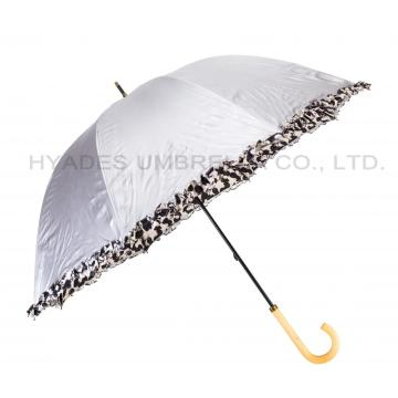 Met franje bedrukte zilveren coating Hand Open Dome Umbrella