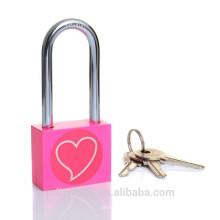 Corazón impreso cuadrado largo manguito color rosa candado