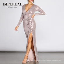 Wrap Sequin Metallic Party Long Sleeves Evening Dresses 2018 Women