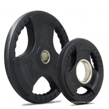 Black Tri Grip Barbell Rubber Cover Olympic Weight Plate