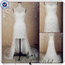 JJ3623 Spitze reizvolles kurzes vorderes langes rückseitiges Hochzeitskleid mit langen Zügen