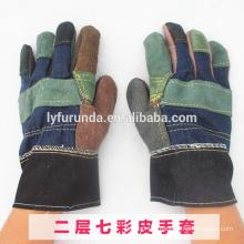 Gants de travail en cuir à fourrure mixte et à moelleux à la menthe