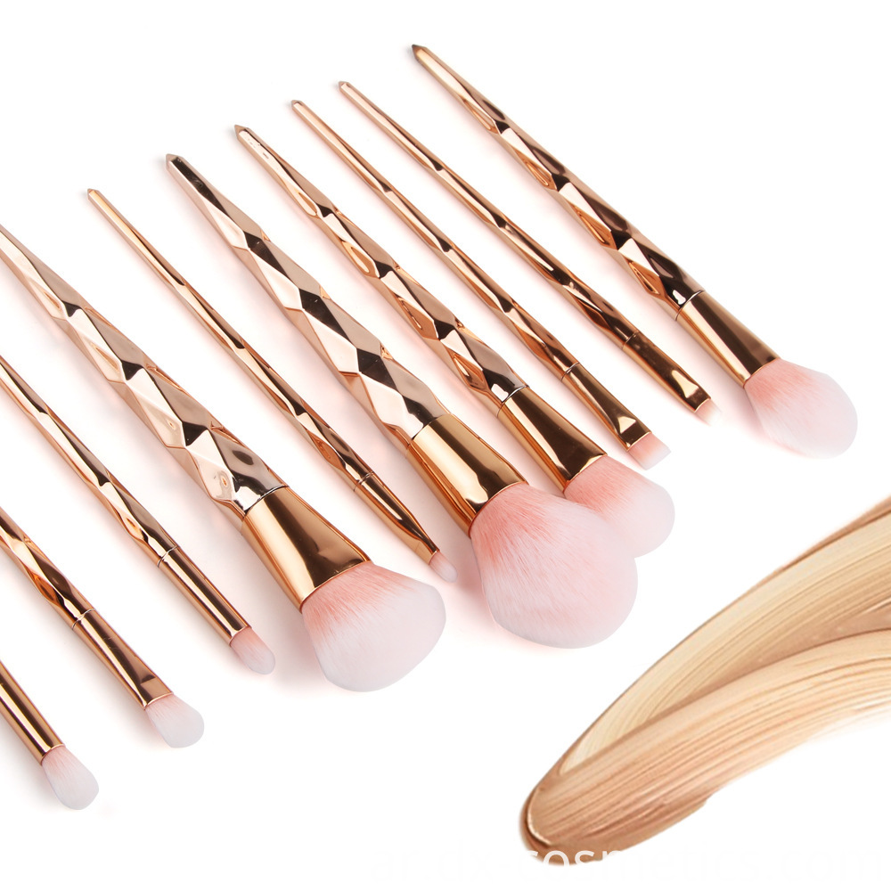 10 Pcs Diamond Rose Gold Makeup Brushes Sets 1