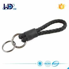 2015 Doppelringe schwarz geflochtene Leder Schlüsselanhänger