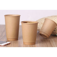 Disposable Food-Grade Double Kraft Coffee Paper Cups with Lids