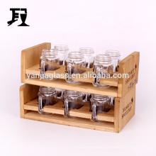 mason jar set for spice 6 glass jars with wooden shelf 50ml/120ml