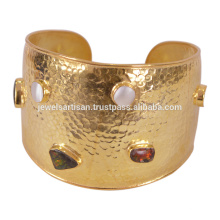 Natural Ammolite & Mabe Coated Pearl With 925 Sterling Silver Gold Plated Bangle Weddign Wear Jewelry