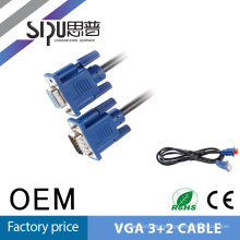 SIPU hohe Qualität schwarz PVC Jacet Stecker-Stecker HD 15 Pin 6ft VGA-Kabel vom computer