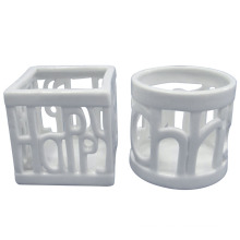 White Hollow out Porcelain Craft Candle Holder