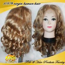 Высокая плотность длинные светлые парики человеческих волос для мода женщин
